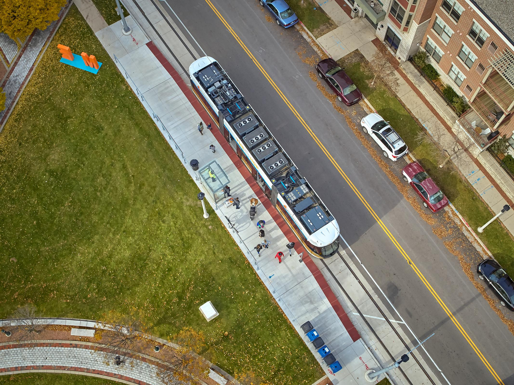 "Aerial photograph of the Milwaukee trolley ""The HOP"""