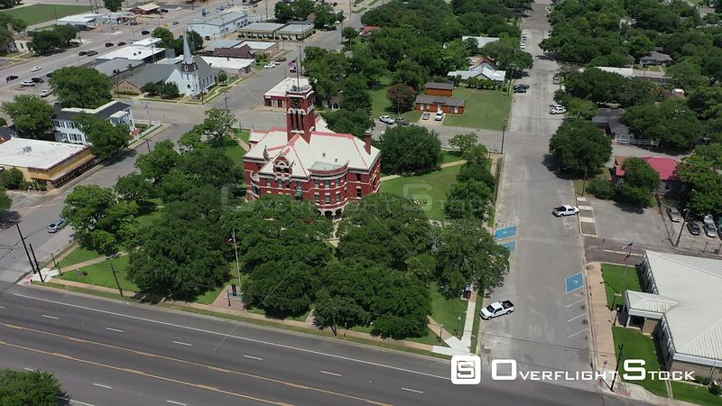 Orbiting flight around town square, Giddings, Texas, USA