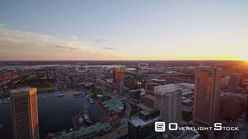 Baltimore Maryland Aerial Panoramic sunset cityscape view, clockwise