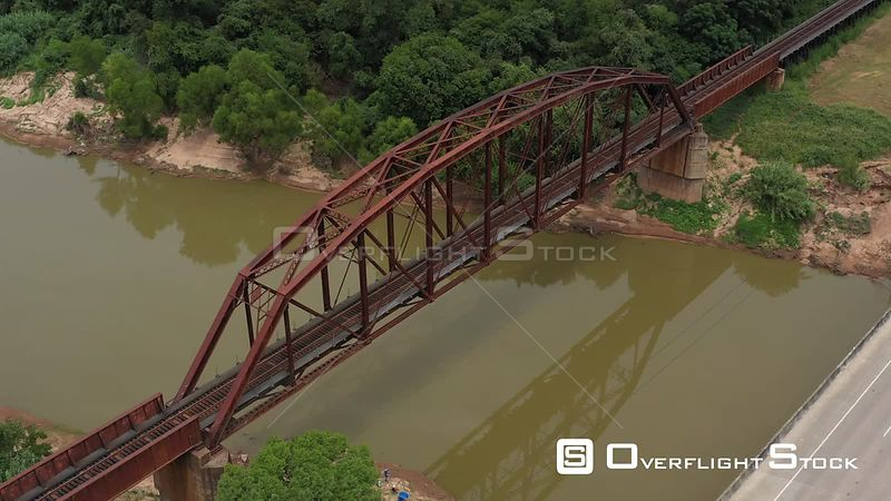 Clear span railroad bridge over a river, Brazos County, Texas, USA