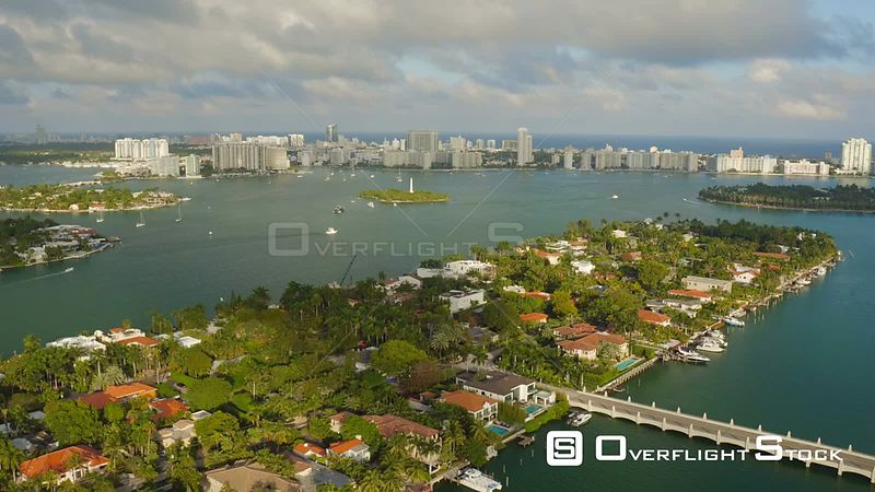 Miami Florida Luxury Islands Flying over Hibiscus Island panning down.