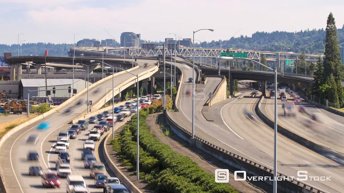 Time lapse of I84 onramp and I5 traffic and Marquam bridge in Portland Oregon.