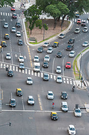 Aerial View on Traffic on the Wide Avenida 9 De Julio in Centre City of Buenos Aires, Argentina