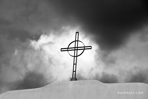 CHURCH CROSS AND STORMY SKY SANTA FE NEW MEXICO ARCHITECTURE BLACK AND WHITE