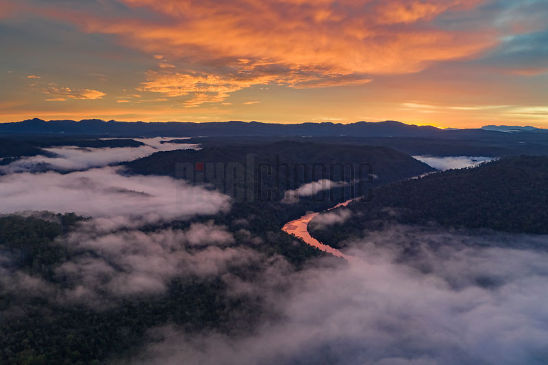 Aerial View of the Pieman River at Dawn