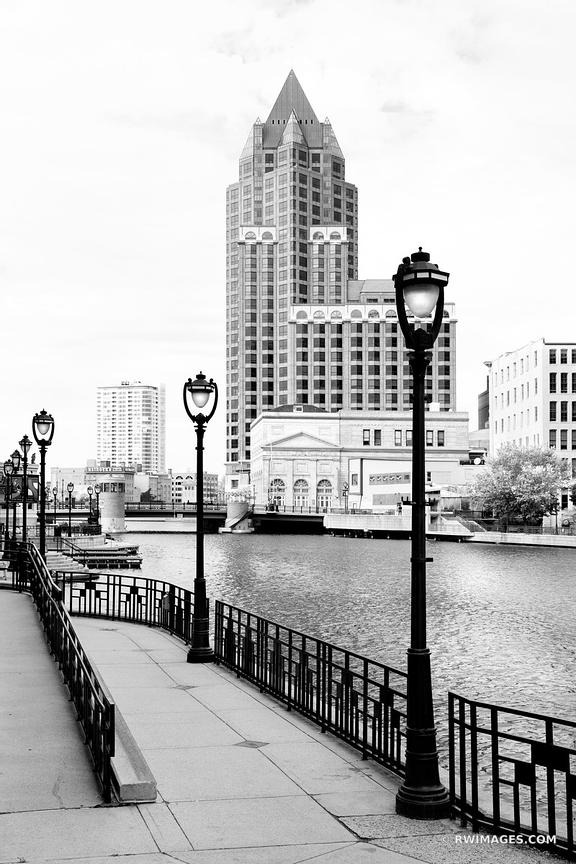 MILWAUKEE RIVER DOWNTOWN MILWAUKEE WISCONSIN BLACK AND WHITE