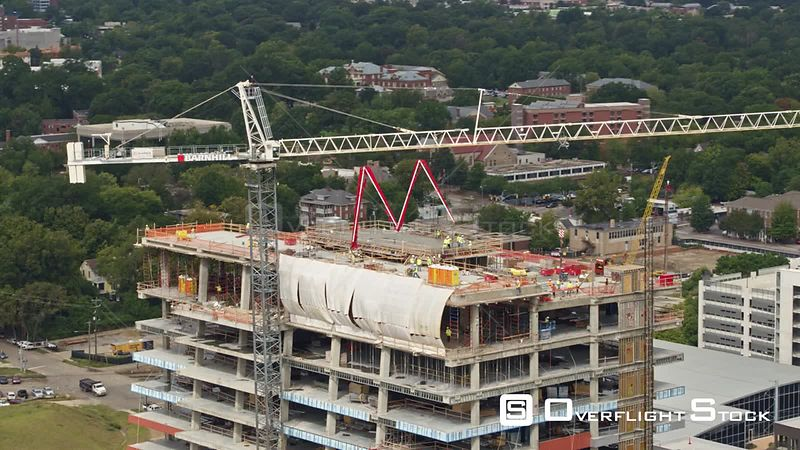 North Carolina Raleigh Aerial Panning around city center construction