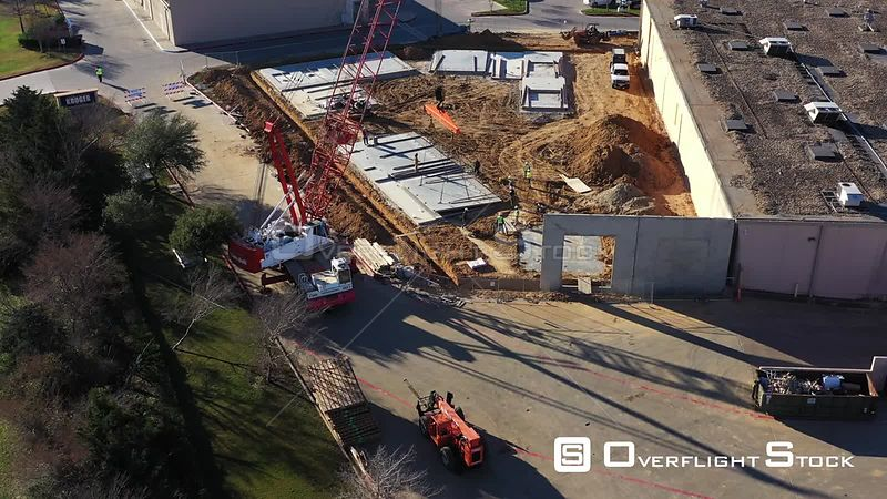 Erecting Tilt Wall Concrete Wall Panels in Commercial Construction, Bryan, Texas, USA