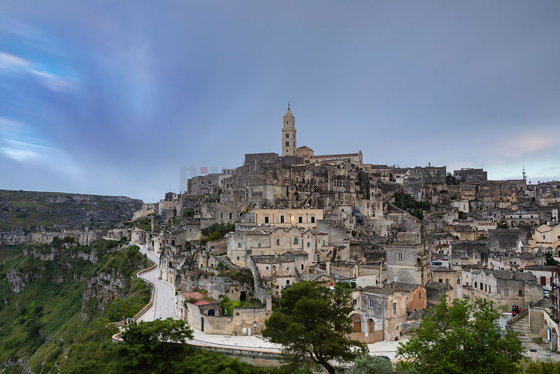 View of the City of Matera Towards Sunset