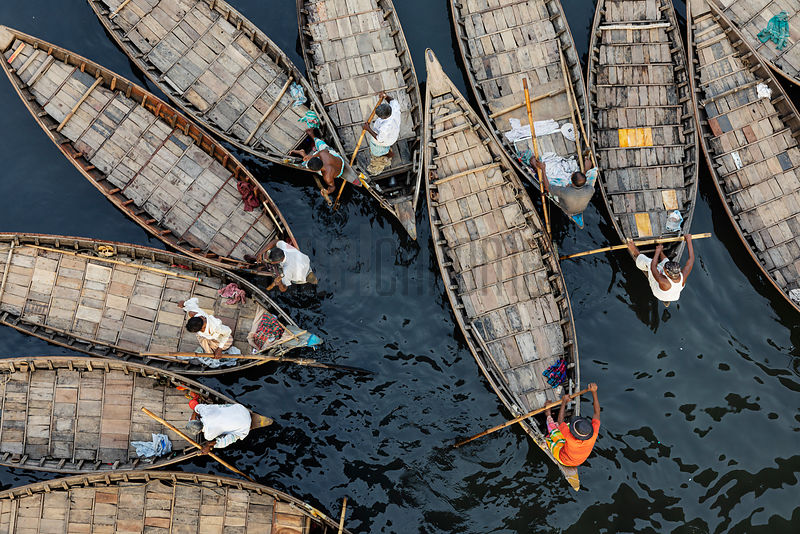 Small Boats Called Gathering of Dingi Nouka acting as Water Taxis on the Buriganga River in Dhaka