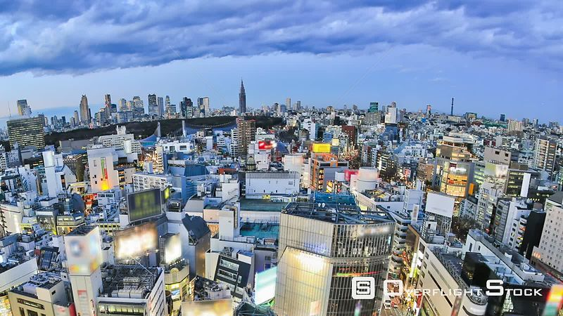 Tokyo  Japan Panning Tokyo cityscape time lapse over Shibuya just after sunset.