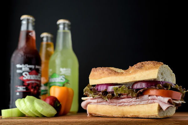 Montreal Food photographer, Restaurant menu cover, ham sandwich and drinks, commercial photography