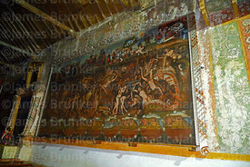 Painting depicting hell inside historic church of the Señor de la Cruz, Carabuco, La Paz Department, Bolivia