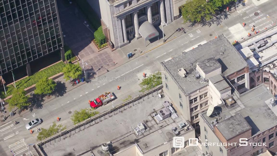 Seattle Washington State USA Panning time lapse of Seattle city center streets from above.