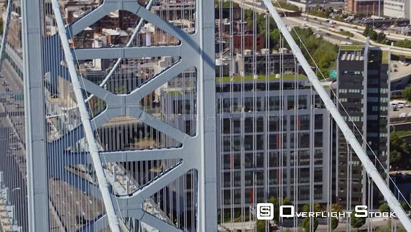 Philadelphia Pennsylvania Aerial Panning birdseye of Ben Franklin bridge from Philadelphia side to Camden side