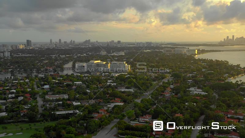 Aerial video nice sunset Miami Beach homes Biscayne Bay