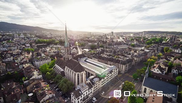 Cityscape and Cathedral  Zurich Switzerland Drone Video