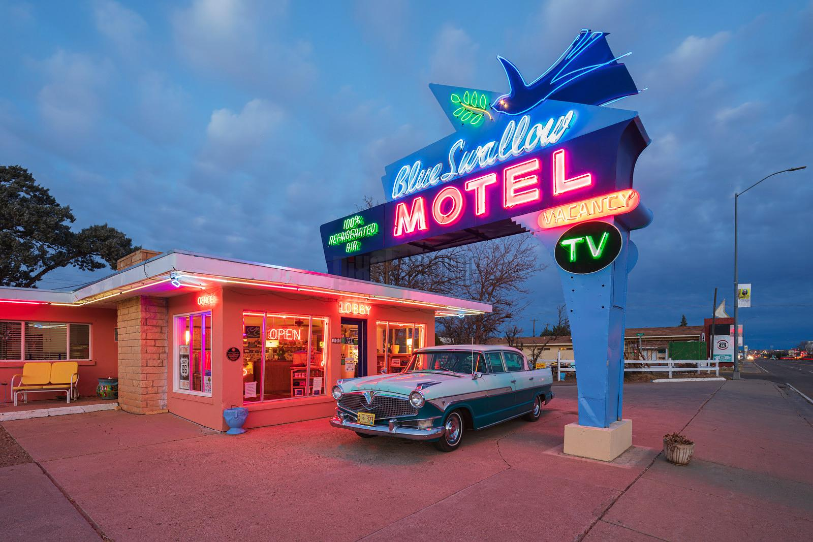 Blue Swallow Motel at Dusk