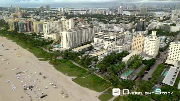 Miami Beach 4k 60p footage hotels and condominiums on the sand