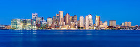Panoramic Boston Skyline at Night High Resolution Photo