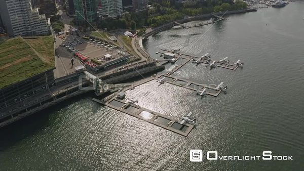 Vancouver BC Canada Panning birdseye looking at seaplane flight and convention center