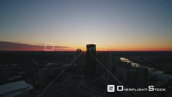Pittsburgh Pennsylvania Sunset view over downtown and North Shore cityscapes