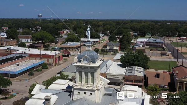 Clock Tower and Lady Justice on the County Courthouse, Cameron, Texas, USA