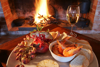Prawns, open fire and white wine.