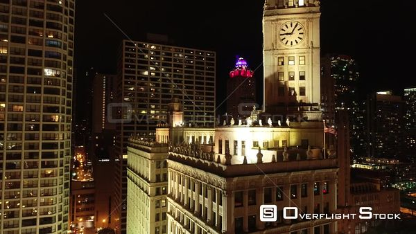 Clock Tower Nighttime Chicago Illinois Drone Aerial View