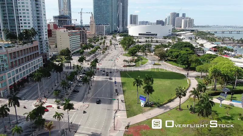 Drone Video Bayfront Park Miami During Covid-19 Pandemic