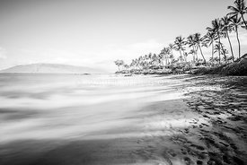 Maui Hawaii Mokapu Beach Wailea Makena Black and White Photo