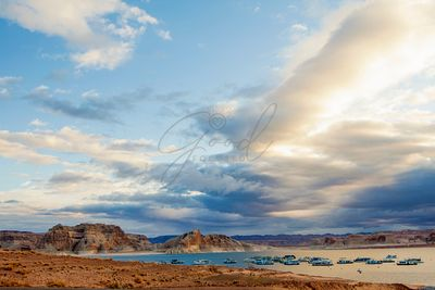 Boats on Lake Powell in the Morning
