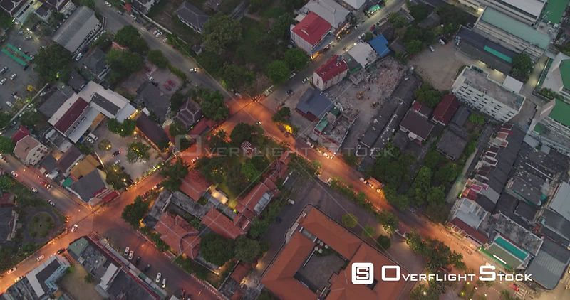 Chang Mai Thailand Aerial Vertical cityscape view at dusk