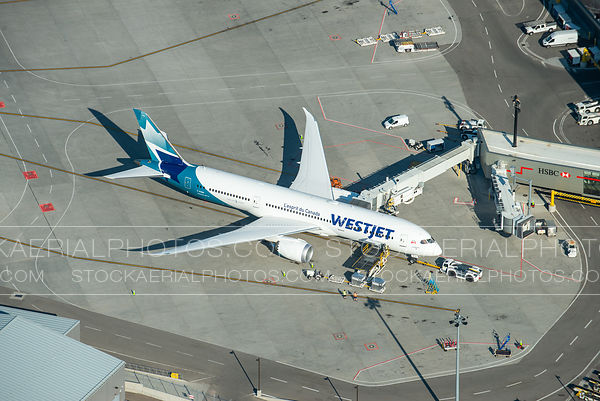 Westjet Boeing 787 parked at a gate at Calgary International Airport.