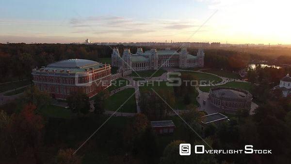 Sunset Sideway Flight Over Tsaritsino Historic Estate. Moscow Russia Drone Video View