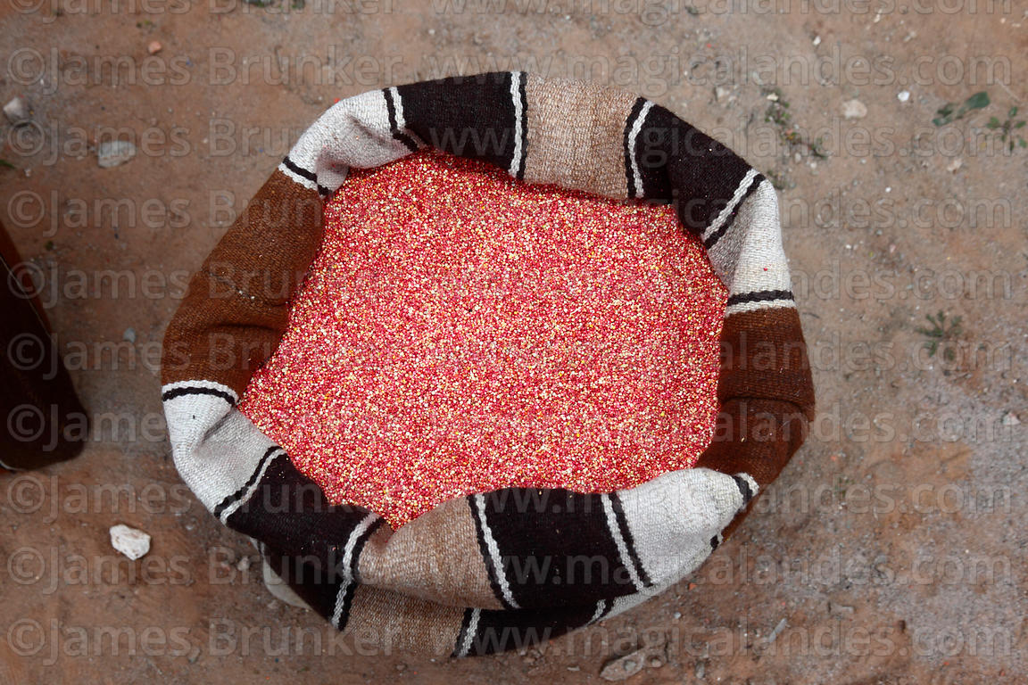 Mixed red and white quinoa grains in a woven wool bag, Bolivia