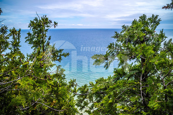 The peaceful view of the bay in Mackinac Island St. Ignace, Michigan