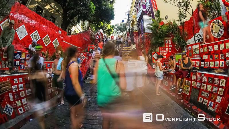 Crowded City pedestrian traffic time lapse at the Lapa Steps  in Rio De Janeiro Brazil
