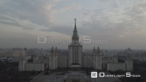 Sunset Moscow State University High Front Approach. Moscow Russia Drone Video View