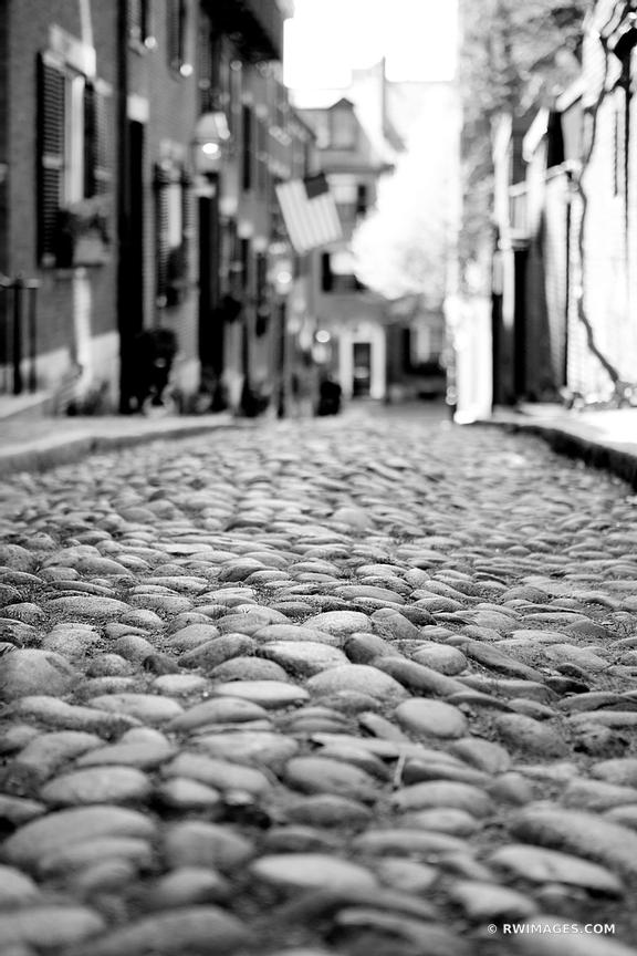 HISTORIC BOSTON BEACON HILL ACORN STREET COBBLESTONE STREET RED BRICK BLACK AND WHITE VERTICAL