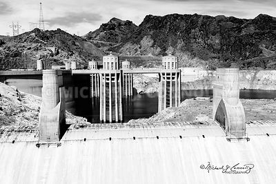 Hoover Dam Water Intakes (B&W)