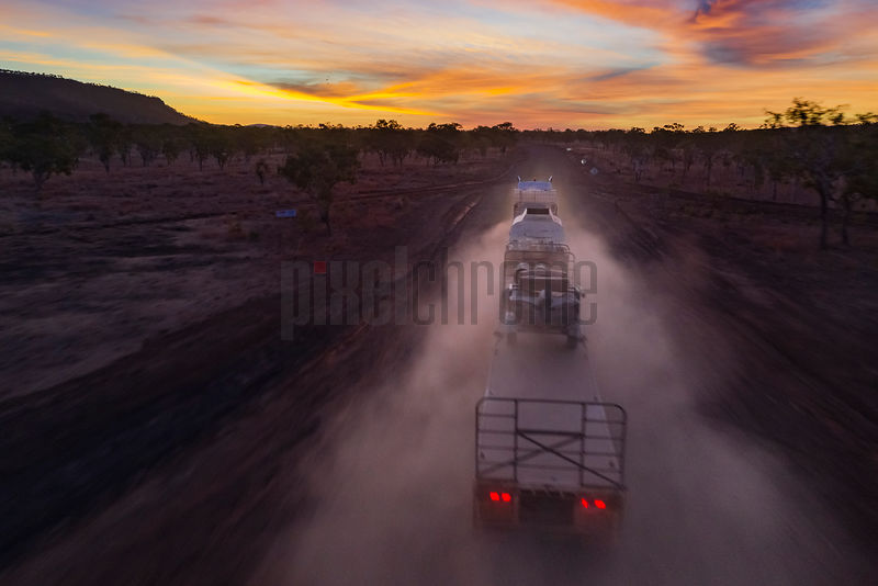 Road Train against the Sunset on the Gibb Road