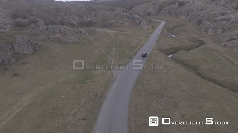Car driving on a road. Romania