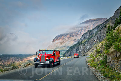 Red Jammers on the Going to the Sun Road