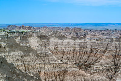 Rocky landscape of the beautiful Badlands National Park, South Dakota