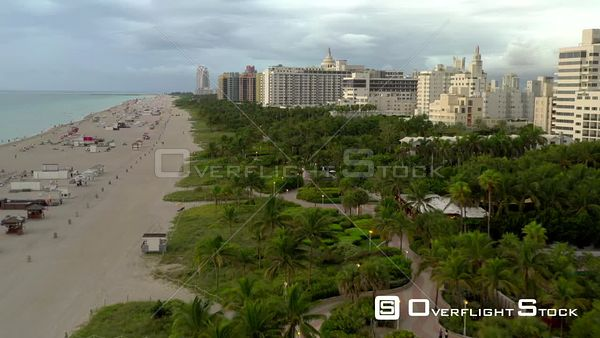 Winding pedestrian walkway Miami Beach Atlantic Greenway aerial drone video