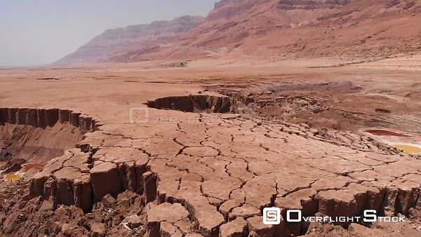 Drone Shot Close to Sinkholes in Dead Sea Desert