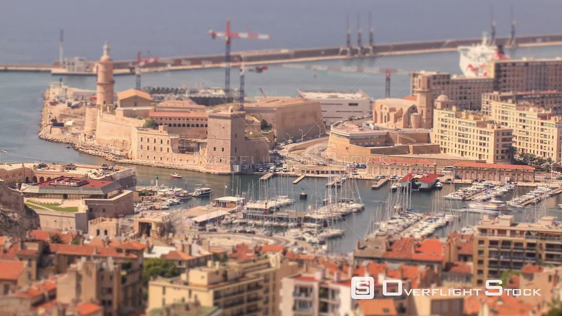 Cityscape time lapse of Marseilles harbor. France