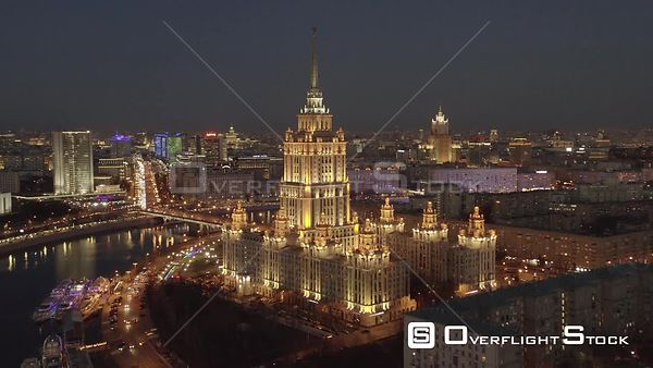 Dusk Flight Foreward from Moscow Historical Building, Radisson Sas Hotel and Spaghetti Junction With City Lights. Moscow Russ...