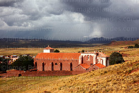 View over San Antonio Abad church and altiplano in rainy season, Caquiaviri, La Paz Department, Bolivia